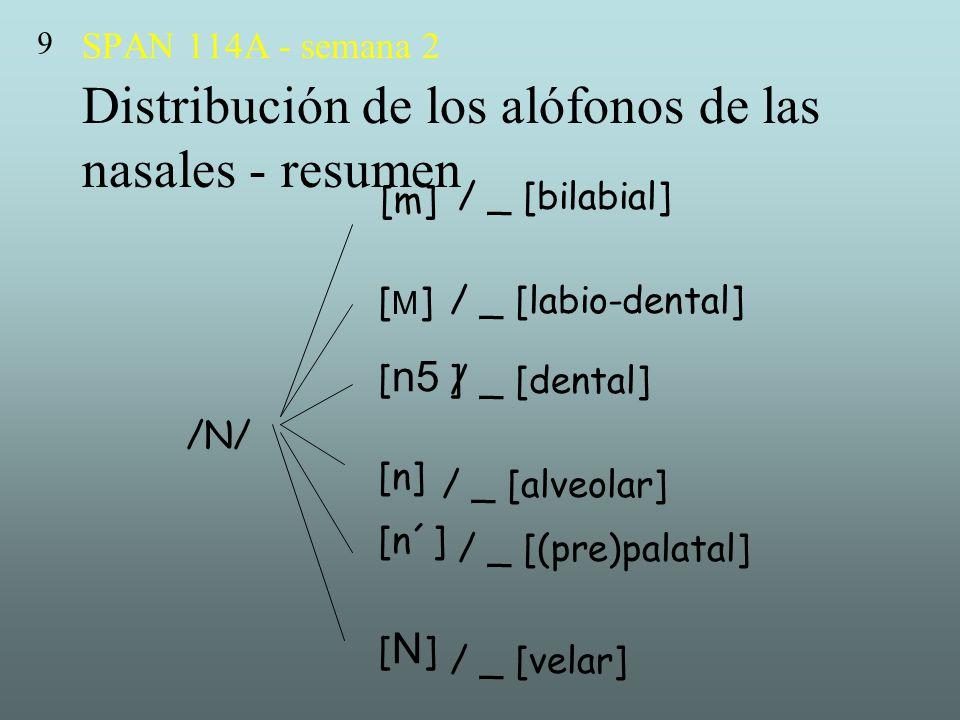 9 SPAN 114A - semana 2 Distribución de los alófonos de las nasales - resumen. [m] / _ [bilabial]